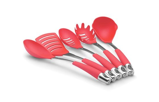 red cooking utensil set new home essentials