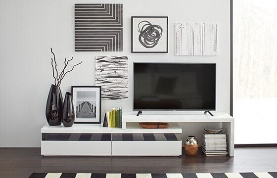 black and white abstract gallery wall modern interior design ideas