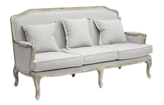 Linen distressed wood sofa french country furniture & decor ideas