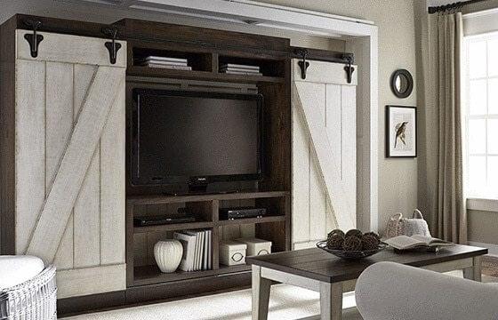 White Barn Doors Entertainment Center Rustic Living Room Ideas