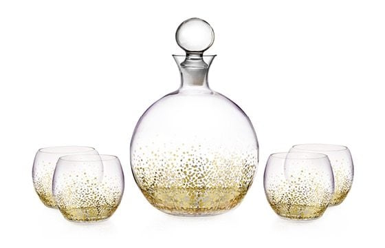 Gold speckled glass decanter set winter glam christmas decor ideas