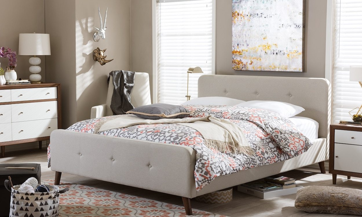Baxton Studio Laurio Mid century Retro Modern Light Beige Fabric Full or Queen Size Upholstered Platform Bed cd70b4ad ffa7 45cf bb03 f51a2b8a6d7d