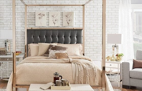tufted grey upholstered bedframe glam room ideas