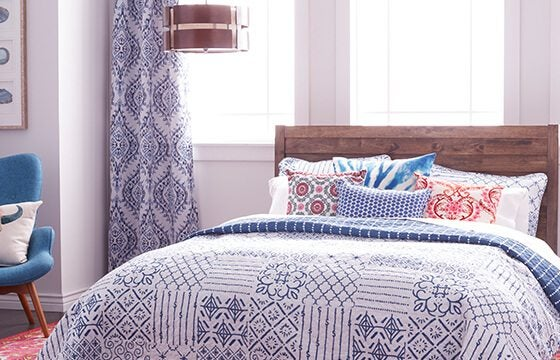 Patterned bedding mix and match patterns