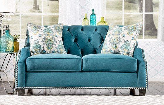 Blue Velvet Sofa Boho Chic Living Room Ideas