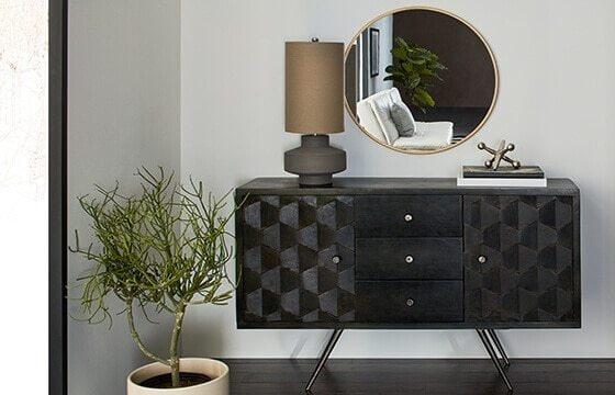 black wooden buffet hutch modern interior design ideas