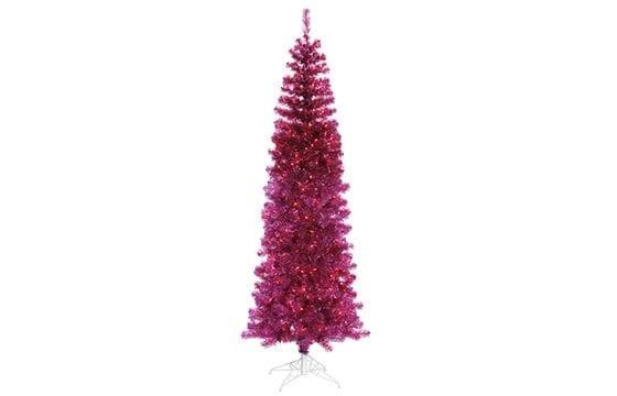 fuchsia tinsel tree mid-century modern christmas decor ideas