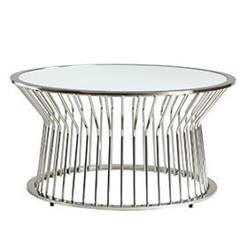 round metal mirror-top coffee table living room ideas