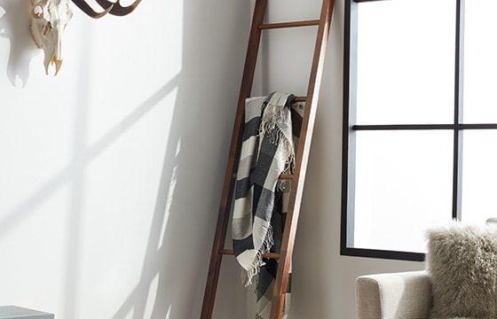 Scandinavian decor ideas wooden ladder against wall
