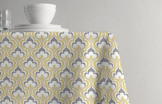 Yellow and gray patterned table linens how to mix patterns