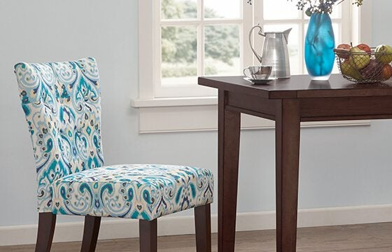 Blue and white patterned dining chairs how to mix patterns