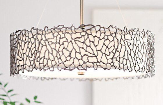 Metallic cutout pendant light how to mix patterns