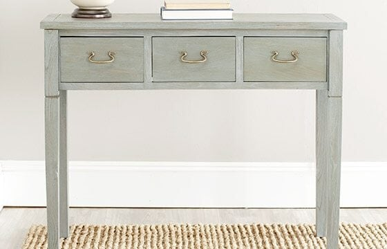 Green-Grey Distressed Wooden Desk Shabby Chic Living Room Ideas