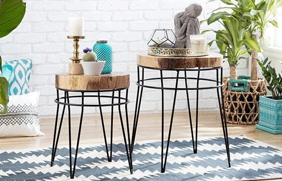 Wood and metal end tables Boho Chic Living Room Ideas