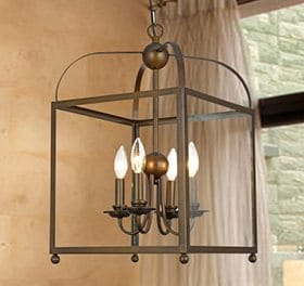 A chandelier light perfect to hang in an entryway