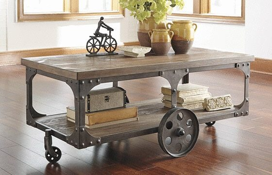 wood and iron wheeled coffee table industrial living room ideas