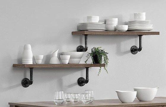 Industrial floating shelves in kitchen
