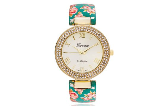 floral strap goldtone Geneva watch guide to women's watches