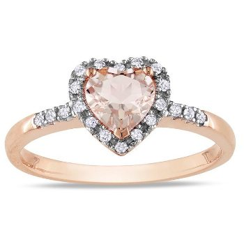 Pink gold heart ring