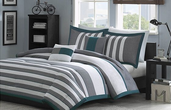 Striped Bedding Hipster Bedroom Ideas for Him