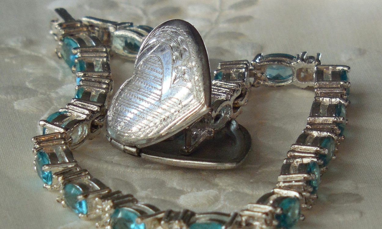 A heart locket with a photograph inside