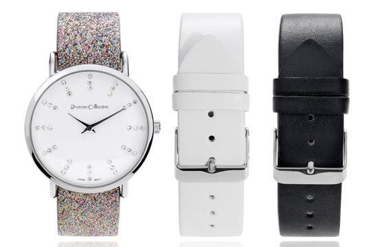 silver watch face with three interchangeable bands in black, white, and glitter guide to women's watches