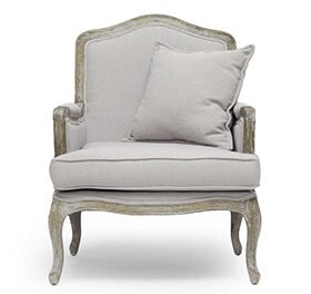 linen and distressed wood accent chair french country decor ideas