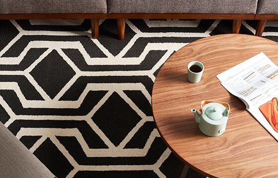 Black and white patterned area rug for mixing patterns