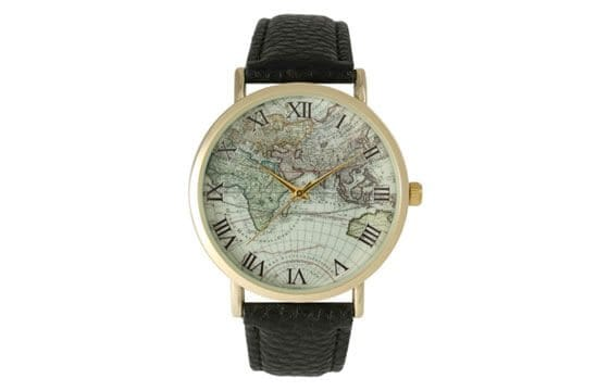 black leather map-detail watch guide to women's watches