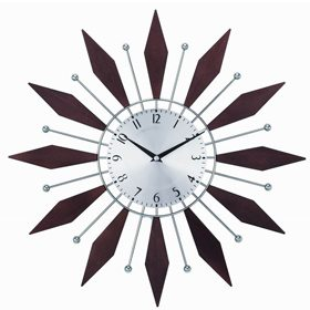 A metal sputnik wall clock, metal is very common to find in Mid-Century Modern style elements