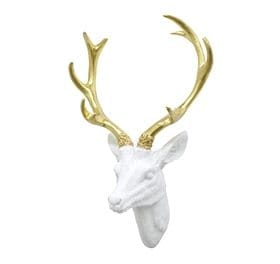 white/gold deer head wall sculpture winter glam christmas decor ideas