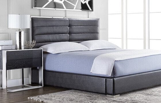 black leather tufted bedframe modern interior design ideas