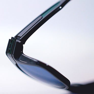 A pair of Oakley sunglasses zoomed in on a quality indicator