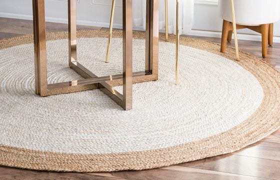 round area rug for open entryway