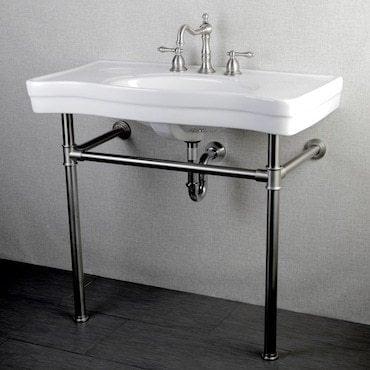 White industrial vanity