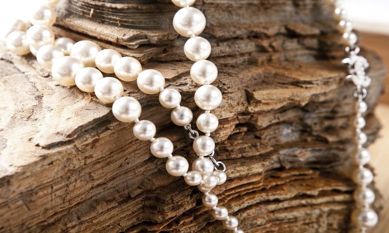 Pearls on wood