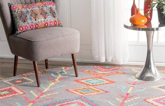 Grey and Pink area rug Boho Chic living room ideas