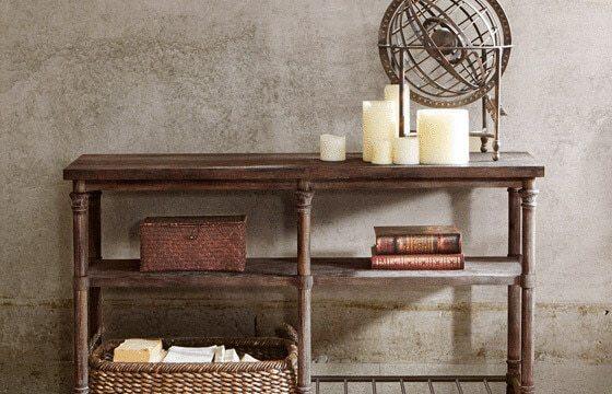 Metal and wood desk Industrial living room ideas