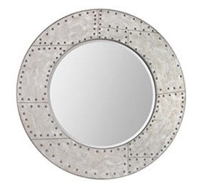 Industrial Silver rivet mirror