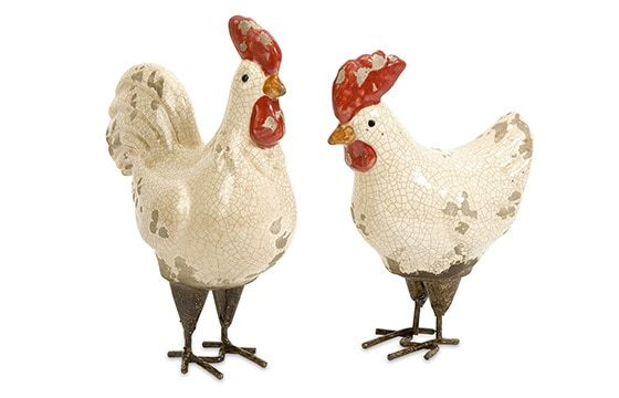 two ceramic decorative rooster figurines french country decor ideas