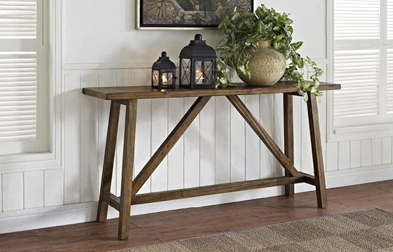 a wooden console table for a small entryway