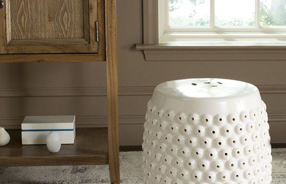 white ceramic garden stool for a small entryway