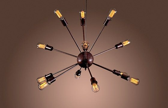black sputnik chandelier Mid-Century Modern Living Room Ideas