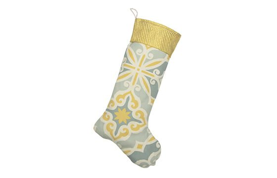 grey and yellow patterned mid-century style stocking mid-century christmas ideas