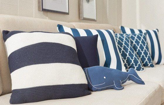 Nautical Striped Throw Pillows Coastal living room ideas