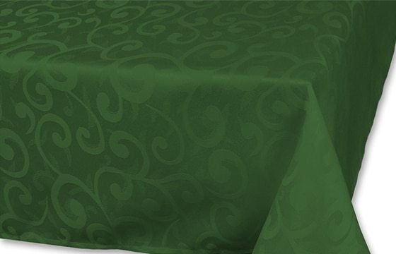 green scrollwork tablecloth traditional christmas decor ideas