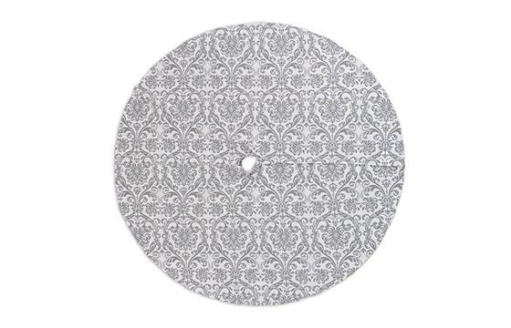 grey damask print tree skirt traditional christmas decor ideas