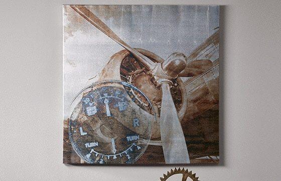 Airplane Canvas Art Industrial Living Room Ideas