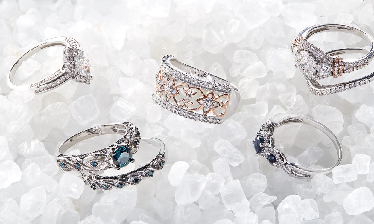 A pile of diamond rings