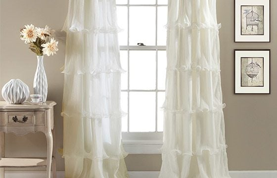 sheer ruffled window treatments shabby chic living room ideas